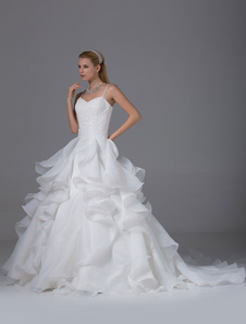 Sweatheart Wedding Dress Spaghetti Strap Beading Lace Applique Organza Ruffles A-Line Chaple Train Bridal Dress
