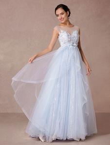 Blue Lace Wedding Dress Court Train Illusion Bridal Gown Applique 3D Flowers Luxury Evening Dress