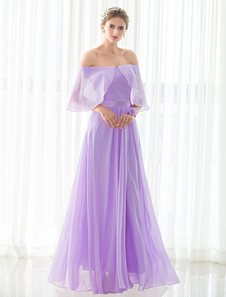 Lilac Bridesmaid Dress Maxi Chiffon Bateau Lace-up Floor-length Satin Sash Backless Wedding Party Dress