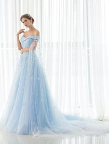 Blue Wedding Dress Lace Flower Applique Off-the-shoulder Tulle Cape Chaple Train A-line Bridal Gown