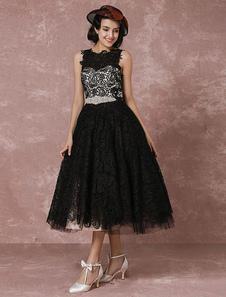 Short Wedding Dress Black Lace Vintage Bridal Gown Rhinestone Sash Tea-length Illusion Back Cocktail Dress Milanoo