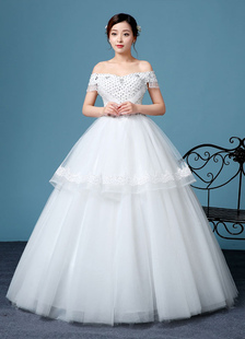 Off-The-Shoulder Wedding Dress Princess Short Sleeve Lace Up Bridal Gown Flower Beading Floor-length Bridal Dress