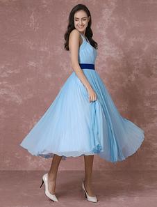 Vintage Wedding Dress Blue Short Bridal Gown Halter Chiffon Pleated Cocktail Dress Tea-length Party Dress Milanoo