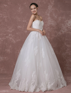 Sweetheart Wedding Dress Lace Bridal Gown Backless Beading Luxury A-line Bridal Dress
