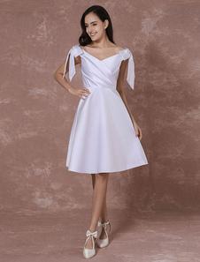 Summer Wedding Dresses 2017 Short Satin Backless Mini Bridal Dress Shoulder Bows A-line Prom Dress Milanoo