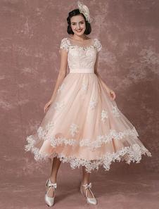Wedding Dress Short Vintage Bridal Dress Backless Illusion Lace Applique Tea-length A-line Reception Bridal Gown Milanoo