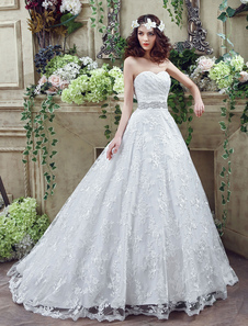 Sweetheart Wedding Dress Lace Tulle Bridal Gown A-line Backless Court Train Bridal Dress