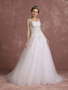 Summer Wedding Dresses 2017 Sequined Queen Anne Neckline Princess Bridal Gowns Beaded Applique V Back Sleeveless Tulle Bridal Dress With Chapel Train