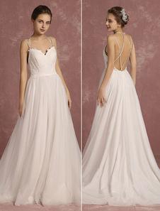 Summer Wedding Dresses 2017 Boho Spaghetti Strap Sweetheart Sleeveless Bridal Gown A Line Criss Cross Backless Bridal Dress With Train