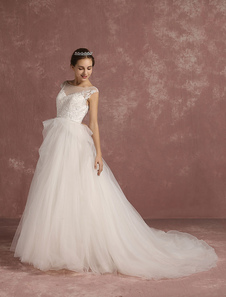 Princess Wedding Dress Tulle Backless Bridal Gowns Chapel Train Lace Applique Sleeveless Layered Illusion Neck Bridal Dress With Beaded Sash