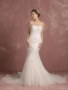 Summer Wedding Dresses 2017 Mermaid Ivory Lace Applique Bridal Gown Sweetheart Strapless Sleeveless Chapel Train Bridal Dress