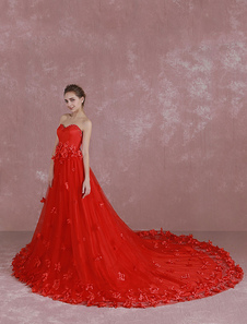 Red Wedding Dress Sweetheart Strapless Sequin Bridal Dress 3D Flowers Applique A Line Cathedral Train Evening Dress