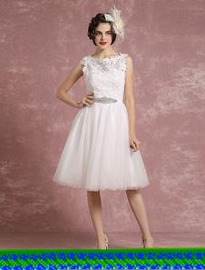 Vintage Wedding Dress Lace Illusion Short Bridal Gown Tulle Sleeveless Beading Sash A Line Bridal Dress