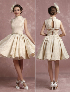 Champagne Wedding Dress Vintage High Collar Bridal Gown Short Jacquard Back Design Sleeveless Bow Pleated Bridal Dress In Knee Length Milanoo