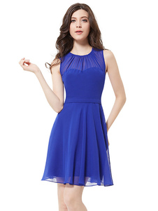 Short Bridesmaid Dress Chiffon A Line Cocktail Dress Royal Blue Illusion Sleeveless Pleated Short Party Dress