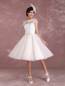 Vintage Wedding Dresses Short Lace Applique Bridal Gown Illusion Bow Sash Bridal Dress Milanoo