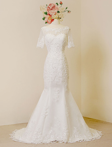 Mermaid Wedding Dresses Ivory Backless Bridal Dress Lace Applique Beading Sweetheart Illusion Short Sleeve Bridal Gown With Train