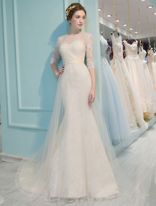 Mermaid Wedding Dresses Lace Half Sleeve Illusion Sweetheart Beading Keyhole Bridal Gown With Train