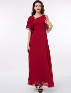 Mother Of The Bride Dresses Red Formal Dress One Sleeve Draped Floor Length Occasion Dress