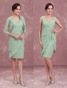 Mother Of The Bride Dresses Two Piece Lace Chiffon Tiered Sage Green Short Sheath Wedding Guest Dress With Jacket