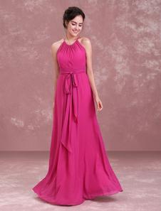 Rose Bridesmaid Dresses Long Halter Pleated Ribbon Sash Wedding Guest Dress