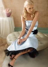 Beautiful Strapless Sash Flower Tea Length Satin Tulle Prom Homecoming Dress