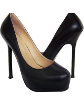 Sexy Black Sheepskin Platform 5 1/2'' High Heel Womens Fashion Shoes