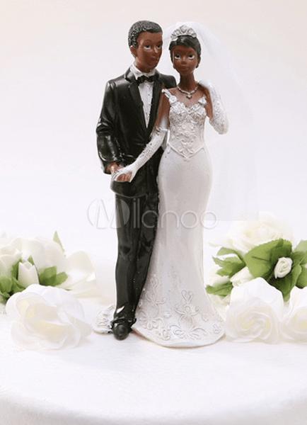 Casal Negro Resina Estatueta Tnica Casamento Bolo Topper