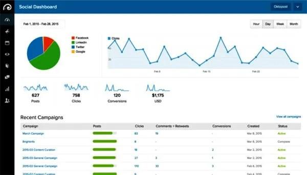 Oktopost social media management tool screenshot