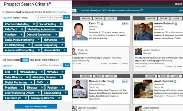 Prospect Search Criteria social media management tool screenshot