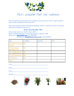 MLHS Plant Sale to Support Project Graduation