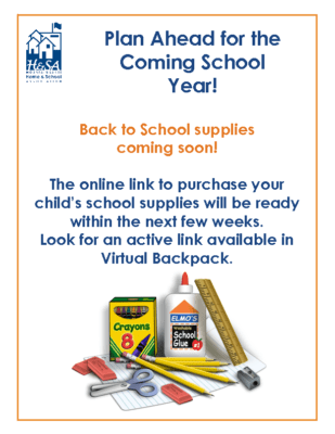 Back to School Supplies – the link to order is coming soon
