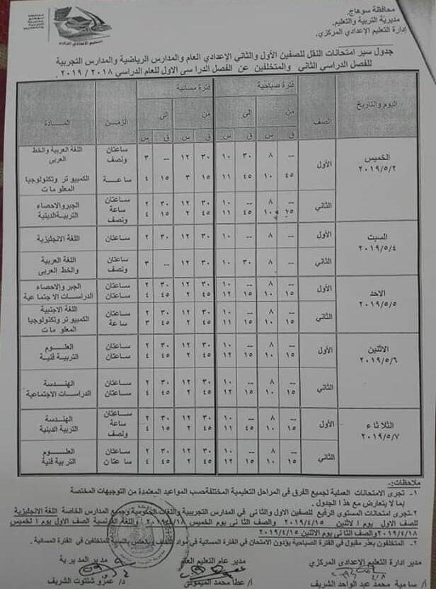 جدول امتحانات الصف الاول والثاني الاعدادي الترم الثاني 2019 محافظة سوهاج