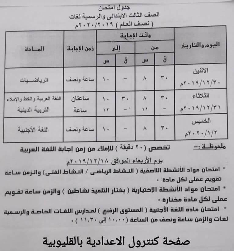 جدول امتحانات الصف الثالث الإبتدائي الترم الأول 2020 ملزمتي