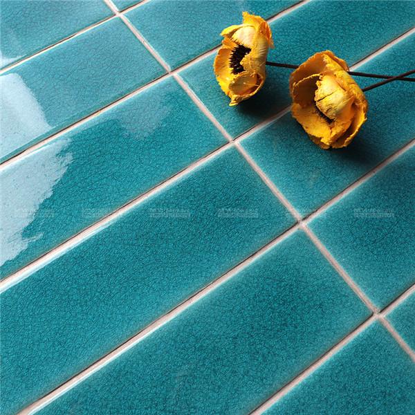 crackle blue ceramic subway tiles