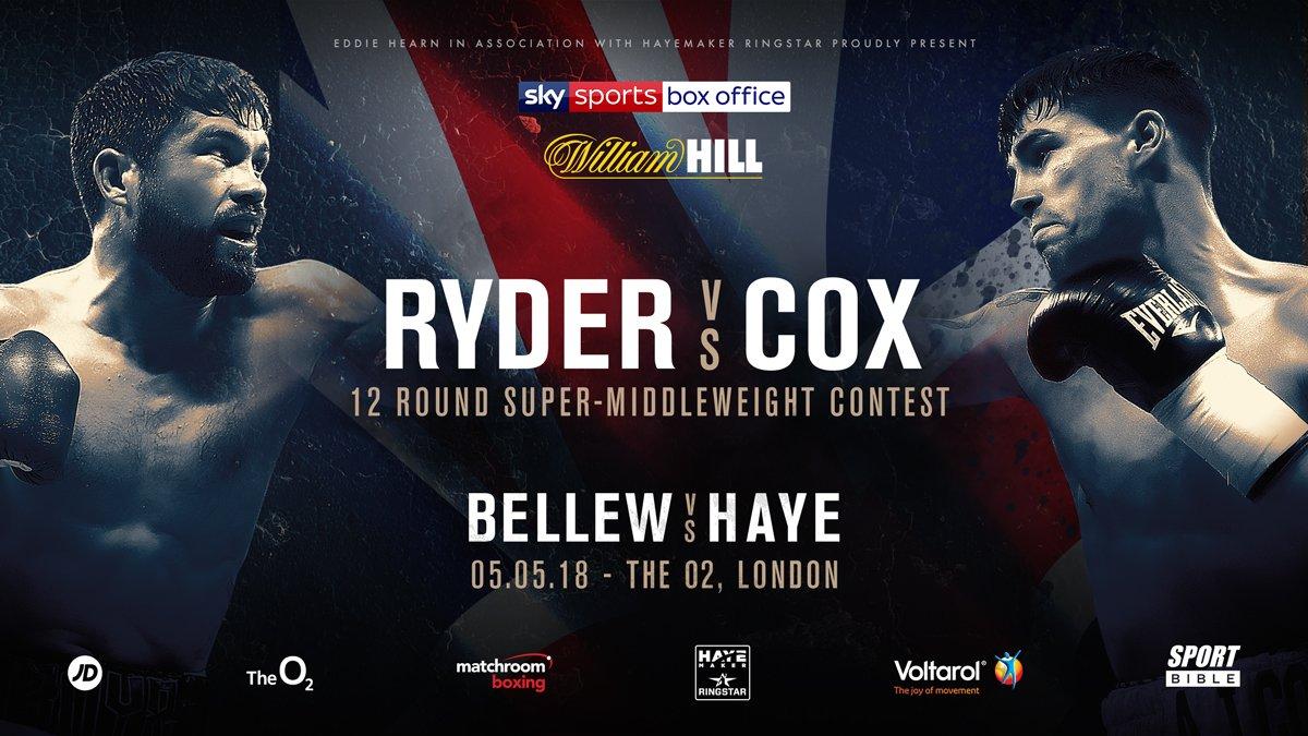 Boxing: John Ryder vs Jamie Cox added to Haye vs Bellew undercard - Ryder