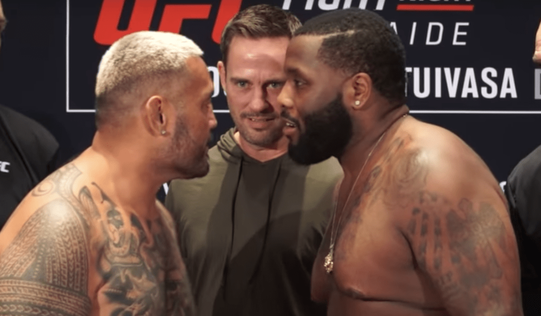 Justin Willis disrespects Mark Hunt after weigh in face offs, Tui Tuivasa gets involved -