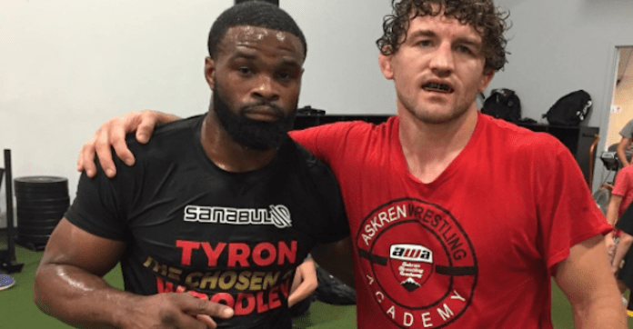 "Watch: Tyron Woodley and Ben Askren tease their new show ""Flip Flops and Drop Tops"" on Helwani's show -"