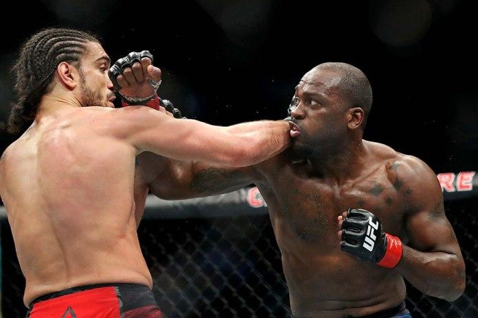 Derek Brunson on how he prevented getting knocked out when he slammed Elias Theodorou -