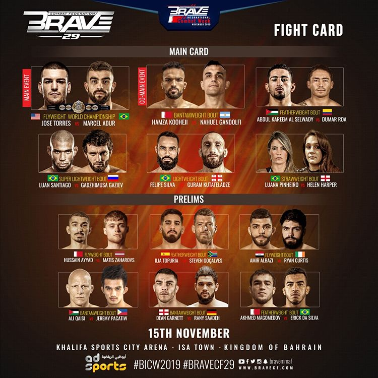 Title fight, rising stars and 16 nations represented at BRAVE CF 29's blockbuster card - BraveCF29