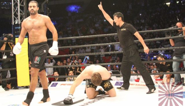 GFC 2: Bad Hari walks off from Arnold Oborotov - Photo credit: Fighting lifestyle UAE