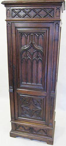 Antique French Gothic Cabinet Or Half Armoire