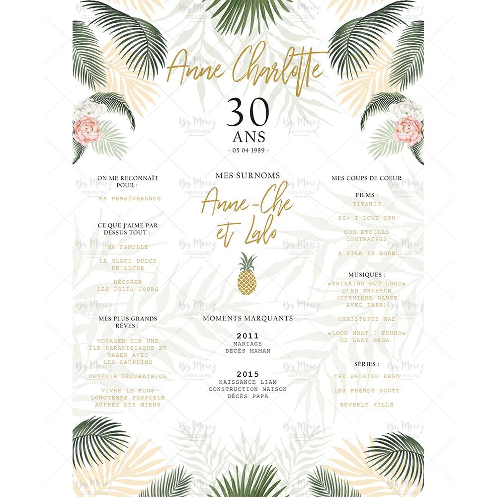 affiche anniversaire adulte personnalisee theme tropical chic