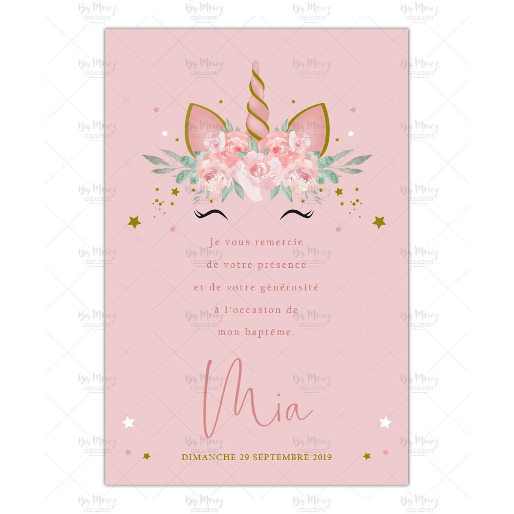 remerciement bapteme theme licorne rose fleuries