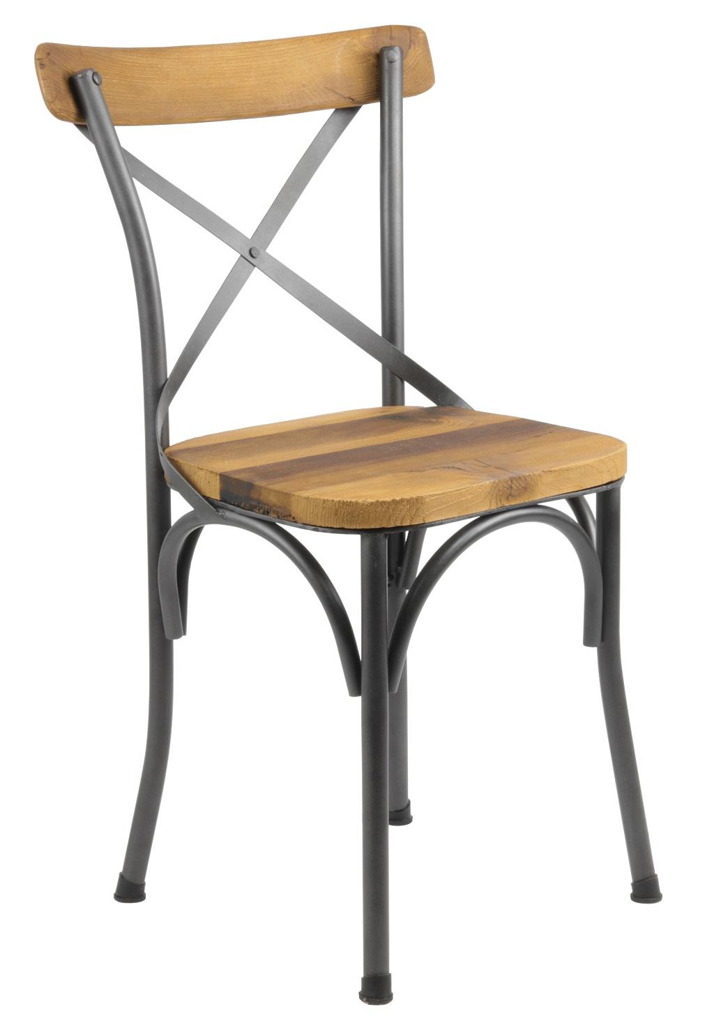 chaise bistrot industrielle bois et metal tradition
