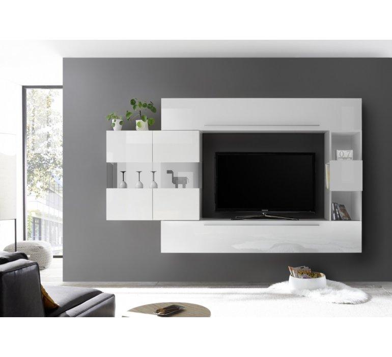 meuble tv suspendu design blanc laque bologna