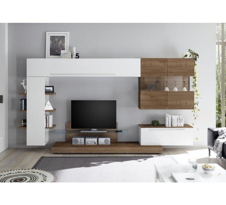 meuble tv mural design blanc laque et bois charles