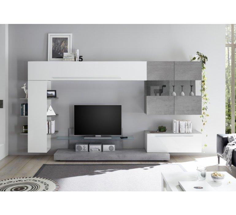 meuble tv mural design blanc laque et gris irwin