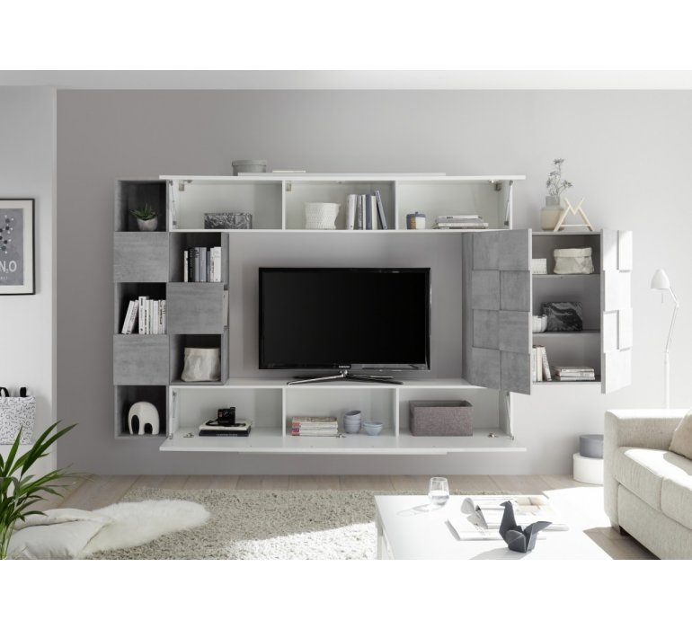 meuble tv suspendu blanc laque et bois design cognac