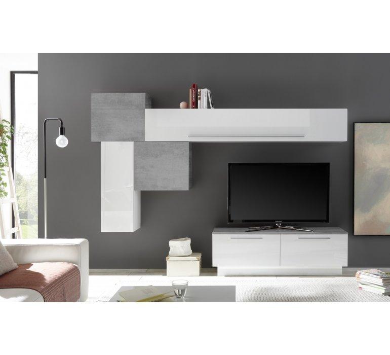 meuble tv mural design blanc laque et gris stone